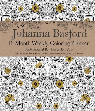 Johanna Basford 2016-17 16-Month Coloring Weekly Planner Takvimler