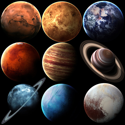 Hight Quality Isolated Solar System Planets. Elements of this Image Furnished by NASA Print by  Vadimsadovski