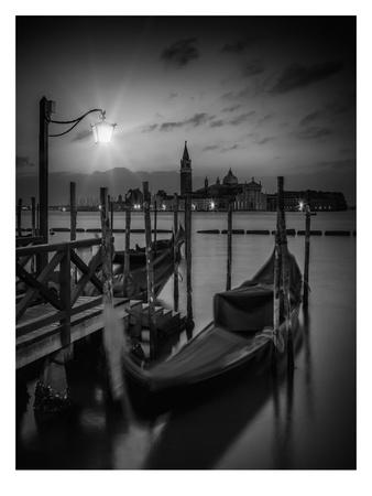 Venice Gondolas At Sunrise - Monochrome Posters by Melanie Viola