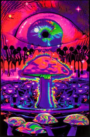 Mushroom Ripple Blacklight Poster Pôster fluorescente para luz negra