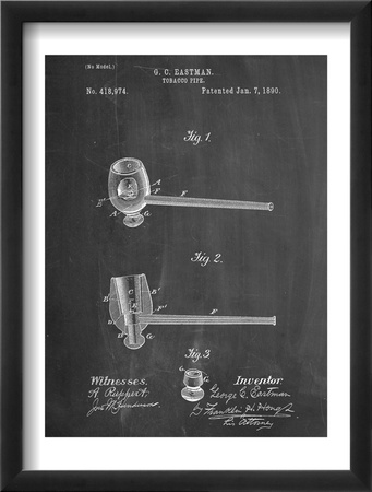 Tobacco Pipe 1890 Patent Zarámovaná umělecká reprodukce