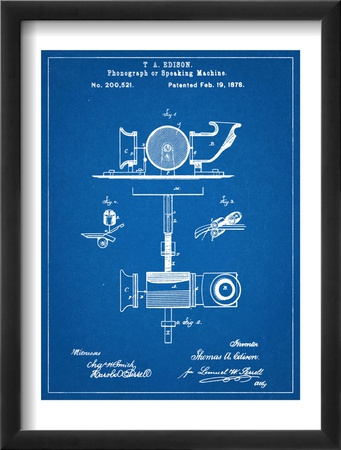 Thomas Edison Speaking Telegraph Patent Zarámovaná umělecká reprodukce