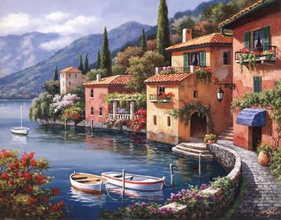 Villagio Dal Lago Poster by Sung Kim