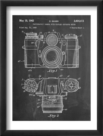 Photographic Camera Patent Zarámovaná umělecká reprodukce