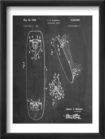 Vintage Skateboard Patent Oprawiona reprodukcja