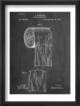 Toilet Paper Patent Oprawiona reprodukcja
