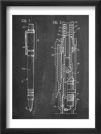 Ballpoint Pen Patent Oprawiona reprodukcja