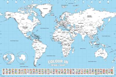 World Map Colour Me In Posters by WORLDWIDE