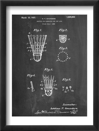 Badminton Shuttle Patent Oprawiona reprodukcja