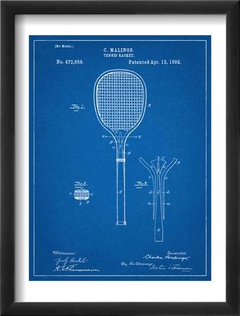 Tennis Racket Patent Oprawiona reprodukcja