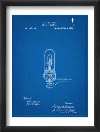 Thomas Edison Light Bulb Patent Zarámovaná umělecká reprodukce