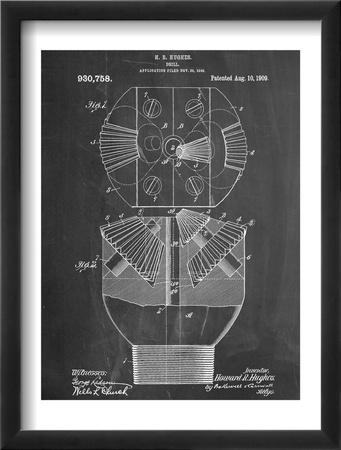 Howard Hughes Drill, Oil Drill Patent Oprawiona reprodukcja