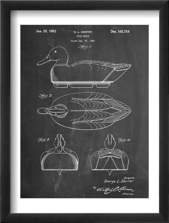 Hunting Duck Decoy Patent Zarámovaná umělecká reprodukce