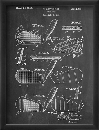 Golf Club, Club Head Patent Zarámovaná umělecká reprodukce