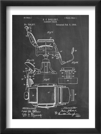 Barber's Chair Patent Oprawiona reprodukcja