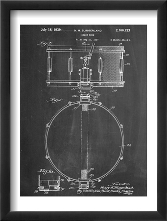 Snare Drum Instrument Patent Oprawiona reprodukcja