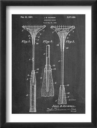 Badminton Racket Patent Zarámovaná umělecká reprodukce