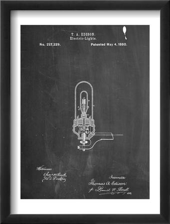 Thomas Edison Light Bulb Patent Oprawiona reprodukcja