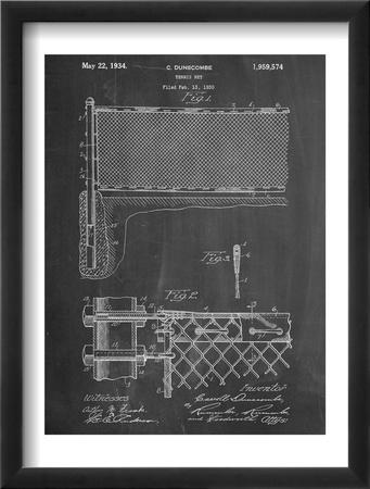 Tennis Net Patent Oprawiona reprodukcja