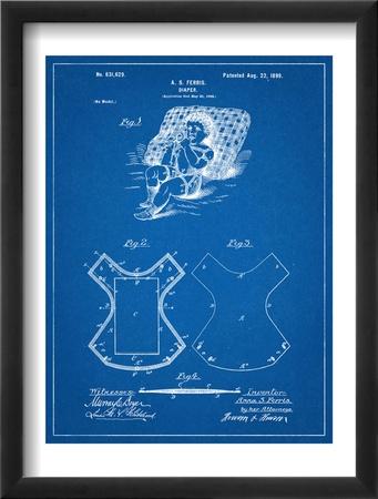 Baby Diaper Patent Oprawiona reprodukcja