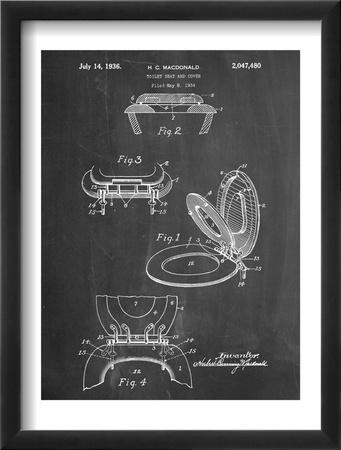 Toilet Seat Patent Oprawiona reprodukcja