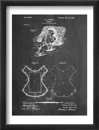 Baby Diaper Patent Zarámovaná umělecká reprodukce