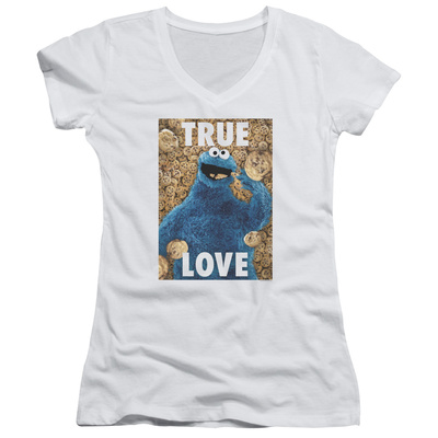 Juniors: Sesame Street- Cookie Monster True Love V-Neck Shirt