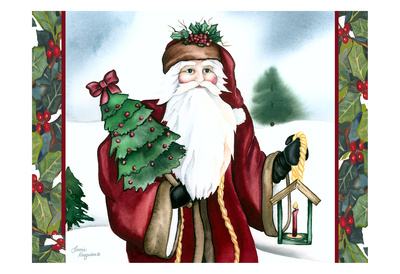 Father Christmas Prints by Laurie Korsgaden