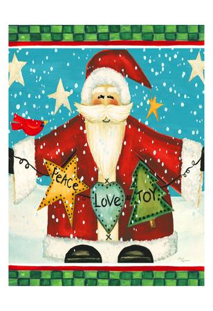 Peace Love Joy Santa Prints by Laurie Korsgaden