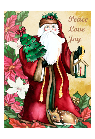 Peace Love Joy Poster by Laurie Korsgaden