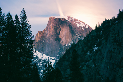 Moody Moonlight at Half Dome, Yosemite National Park, Hiking Outdoors Photographic Print by Vincent James