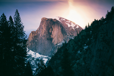 Moon Rising Behind Half Dome, Yosemite National Park, Hiking Outdoors Photographic Print by Vincent James