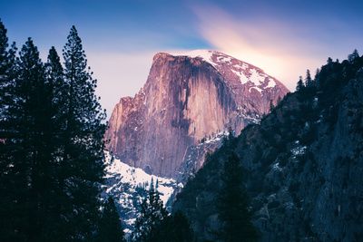 Moon Magic Behind Half Dome, Yosemite National Park, Hiking Outdoors Photographic Print by Vincent James