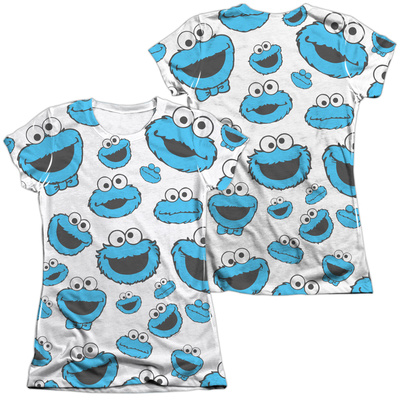 Juniors: Sesame Street- Lots Of Cookie Monster (Front/Back) Shirts