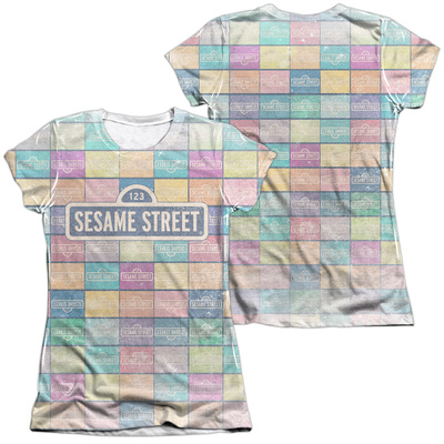 Juniors: Sesame Street- Logo Color Block (Front/Back) T-Shirt