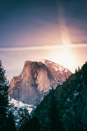 By The Moonlight, Half Dome, Yosemite National Park, Hiking Outdoors Photographic Print by Vincent James