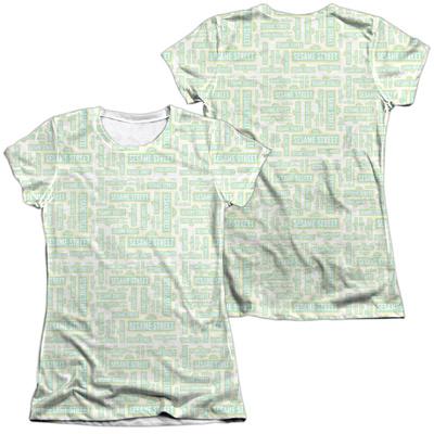 Juniors: Sesame Street- Logo Puzzle Pattern (Front/Back) T-Shirt
