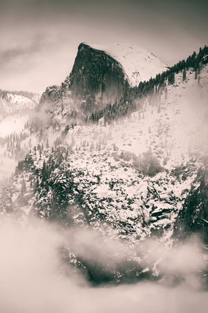 Fog Framed Half Dome and Yosemite Valley, National Parks, California Photographic Print by Vincent James