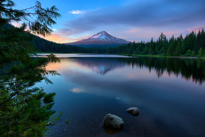 Day's End at Trillium Lake Reflection, Summer Mount Hood Oregon Photographic Print by Vincent James