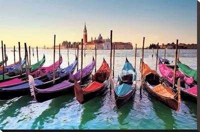 Venice - Gondolas Stretched Canvas Print