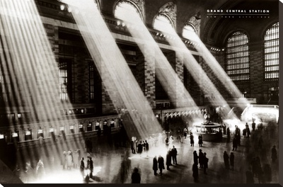 New York, New York - Grand Central Station Stretched Canvas Print by Hal Morey