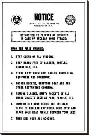 Rare FUNNY Warning Poster Atomic Bomb College Joke Stretched Canvas Print