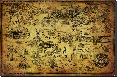 Zelda- Hyrule Map Stretched Canvas Print