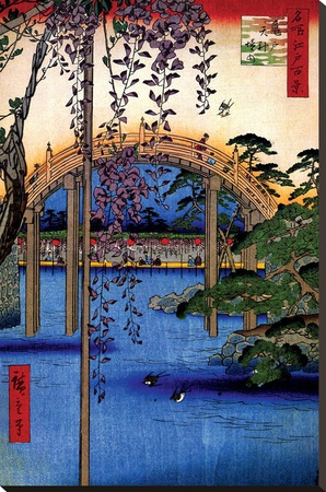 Tenjin Shrine Stretched Canvas Print by Ando Hiroshige