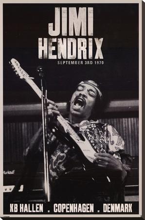 Jimi Hendrix Copenhagen 1970 Music Poster Stretched Canvas Print