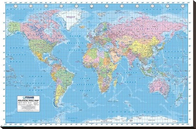 Political World Map Reference Poster Stretched Canvas Print