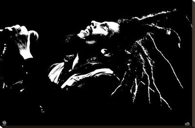 Bob Marley - B&W Stretched Canvas Print