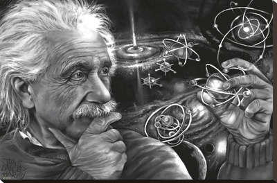 JDH- Einstein Quazar Stretched Canvas Print by James Danger Harvey