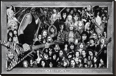 Metal (Heavy Metal Collage) Music Poster Print Stretched Canvas Print