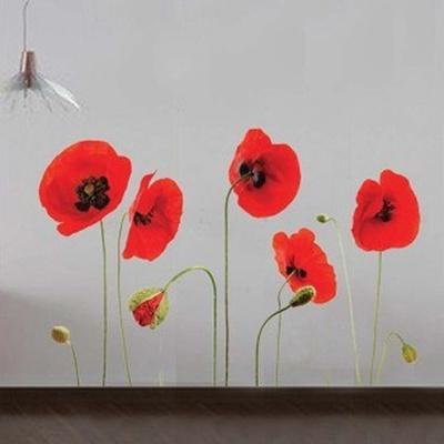 Red Poppy Flowers Duvar Çıkartması